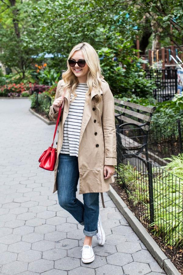stripe sweater, trench coat, boyfriend jeans, sneakers, red bag