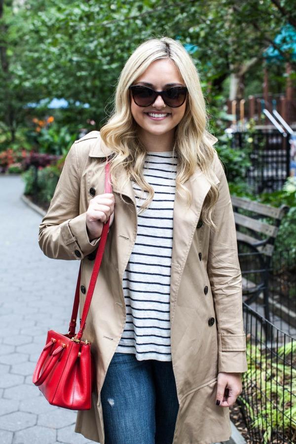 stripe sweater, trench coat, red bagjpg
