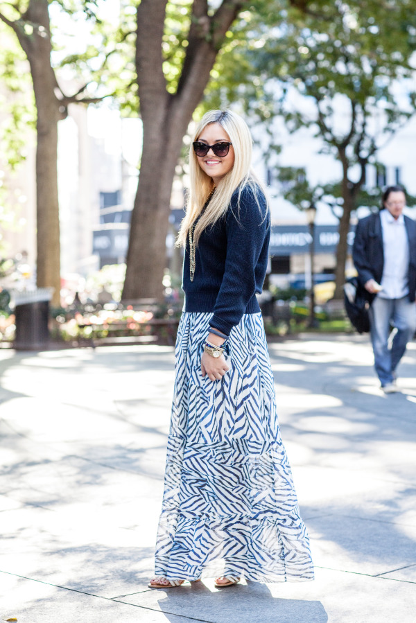 sweater and a maxi skirt