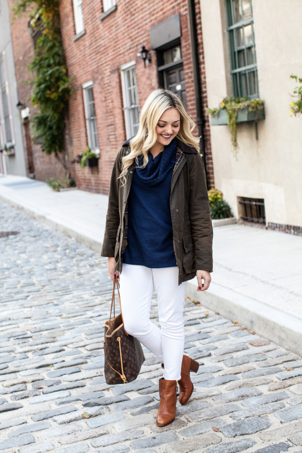 barbour jacket navy sweater white jeans ralph lauren booties