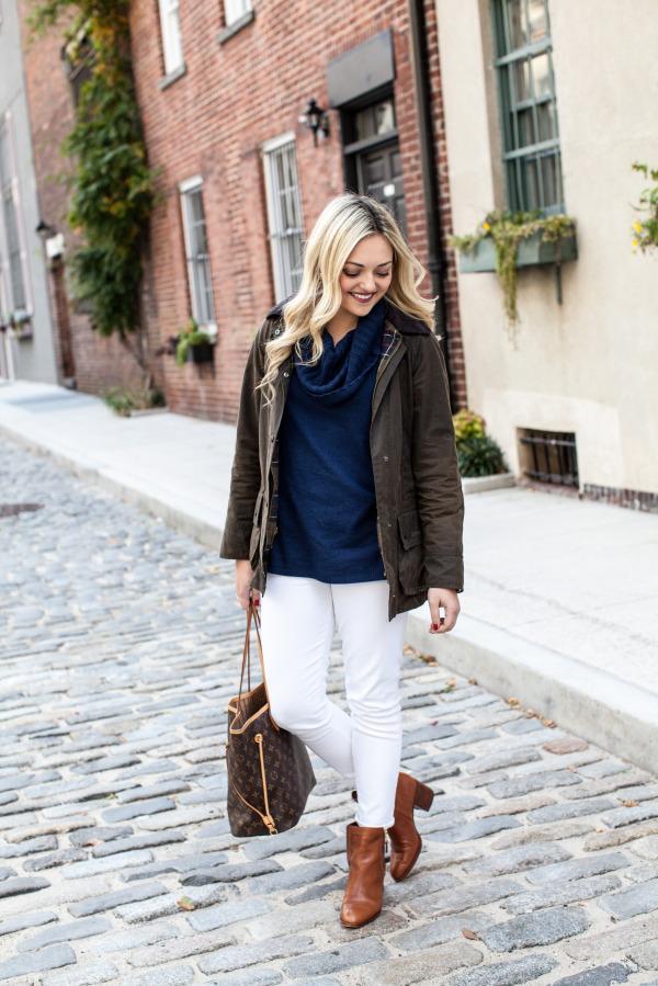 barbour jacket navy sweater white jeans ralph lauren booties