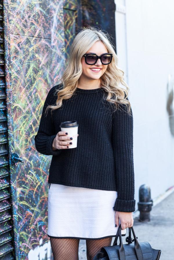 calypso sweater ann taylor skirt crochet tights