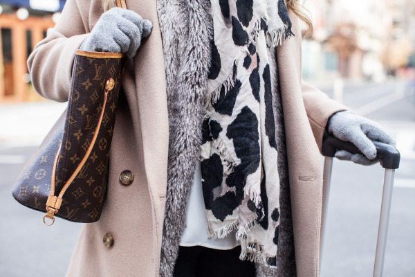 camel coat fur vest leopard scarf