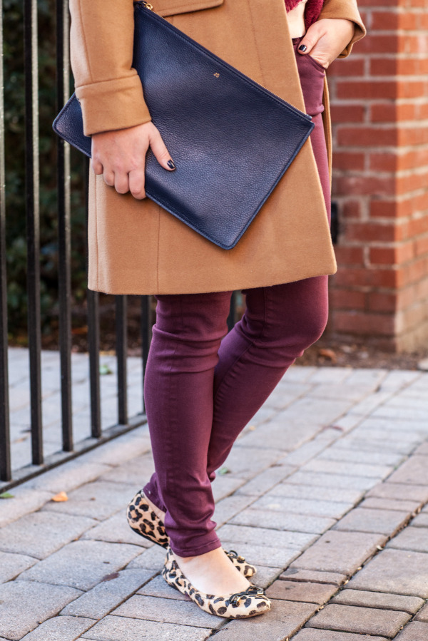 camel coat navy clutch burgundy jeans leopard flats fall style outfit