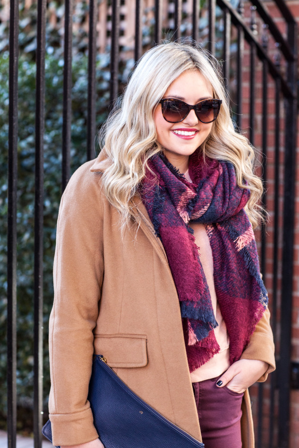 camel coat plaid scarf fall outfit blog