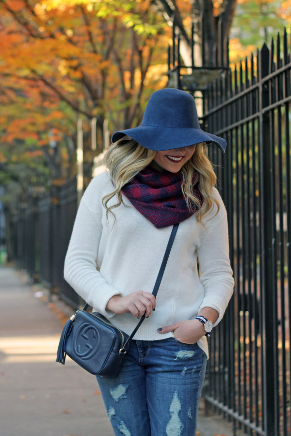 cute fall outfit with hat and scarf