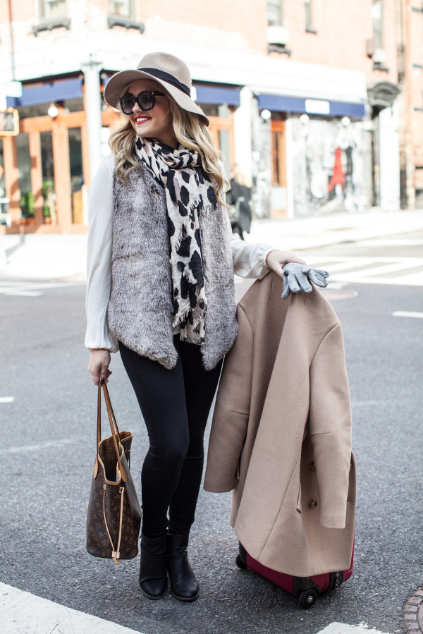 cute winter holiday outfit fur vest leopard scarf