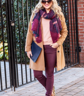 fall winter outfit plaid blanket scarf camel coat burgundy jeans leopard flats