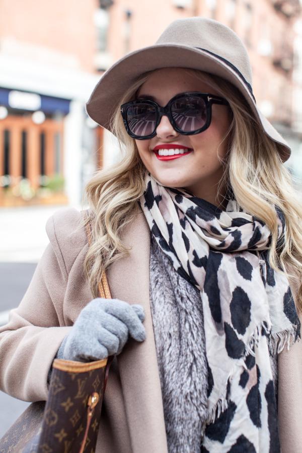 felt floppy hat leopard scarf fur vest gray cashmere gloves