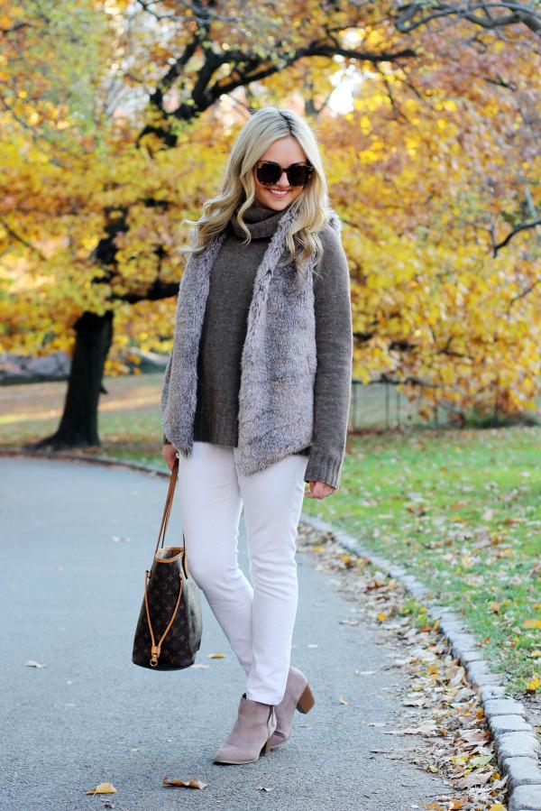 fur vest turtle neck white jeans booties