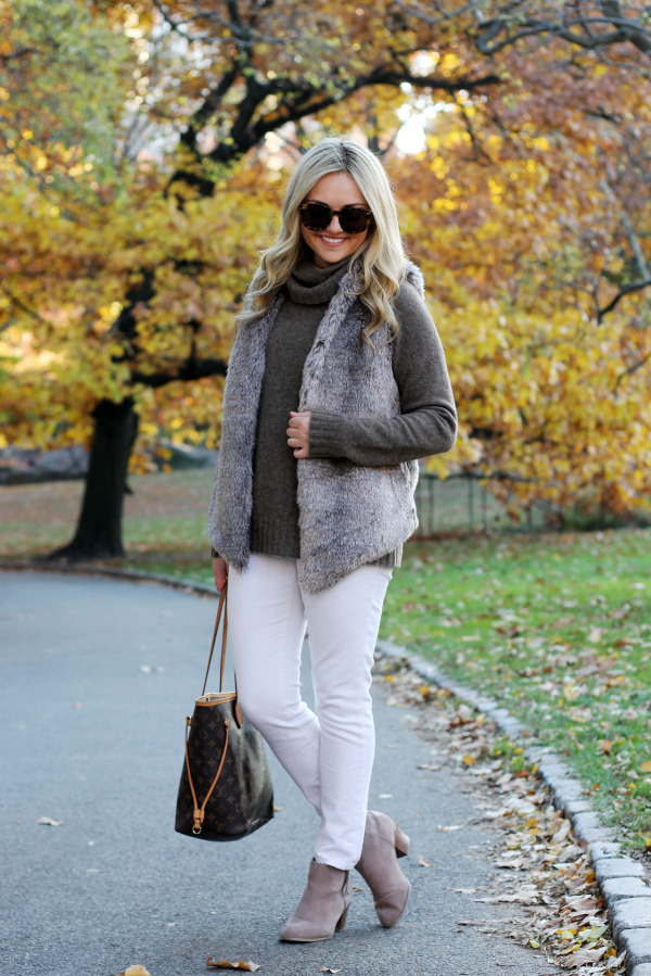 fur vest turtle neck white jeans booties fall