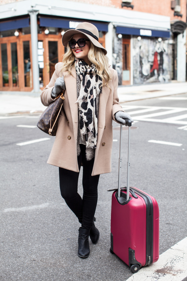 holiday travel outfit carry-on suitcase