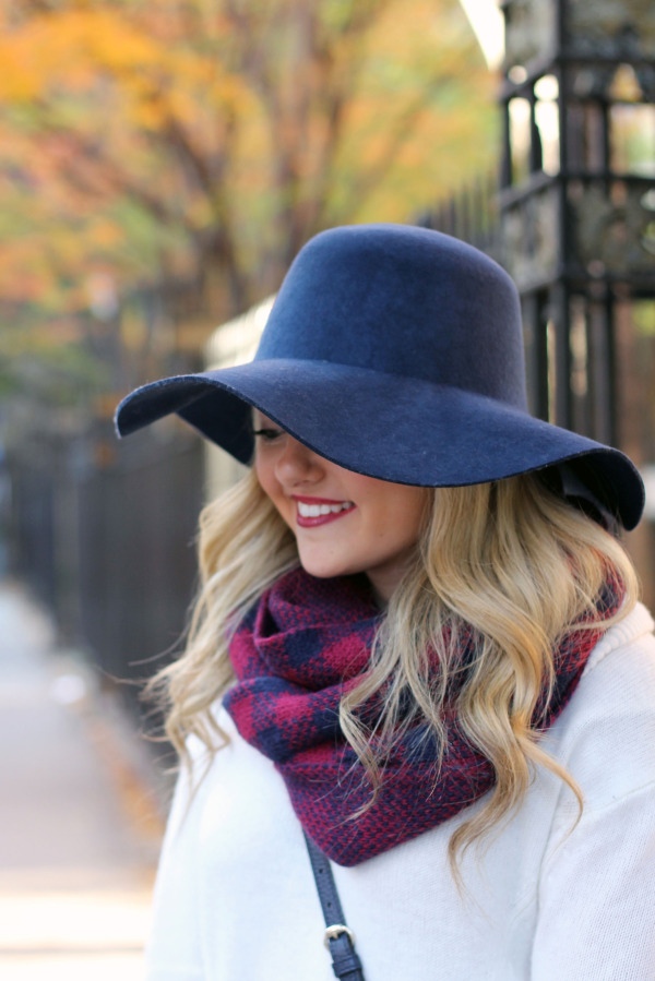 navy hat maroon and navy checked scarf