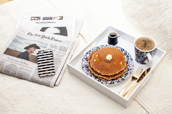 new york times sunday styles breakfast pancakes coffee in bed