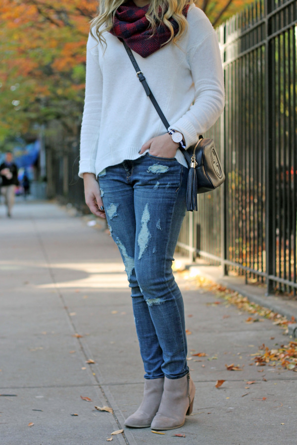 plaid scarf white sweater distroyed denim