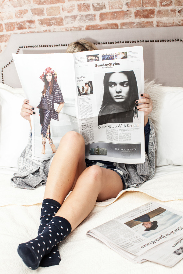 reading the paper in bed