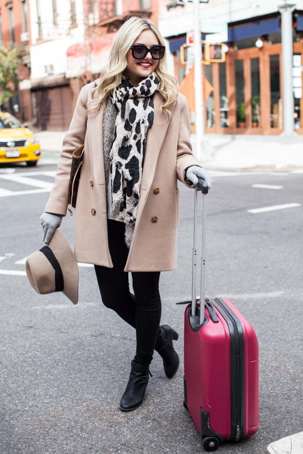 theory camel coat leopard scarf pink luggage