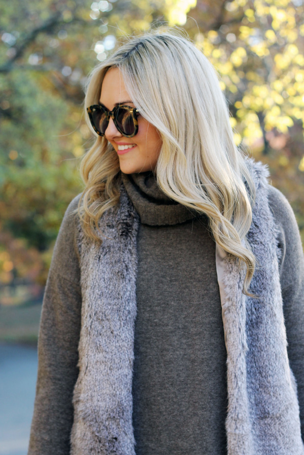 theory turtleneck sweater with fur vest