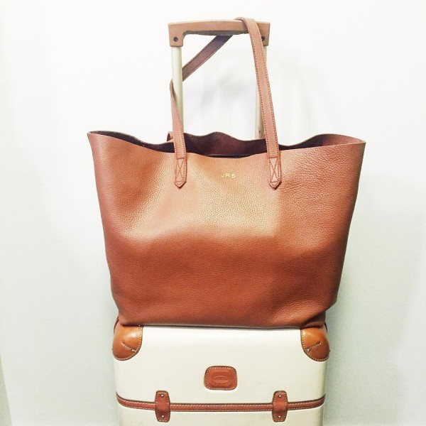Bows & Sequins shares her must-have travel bags: Cuyana Leather Tote & Bric's Bellagio Suitcase