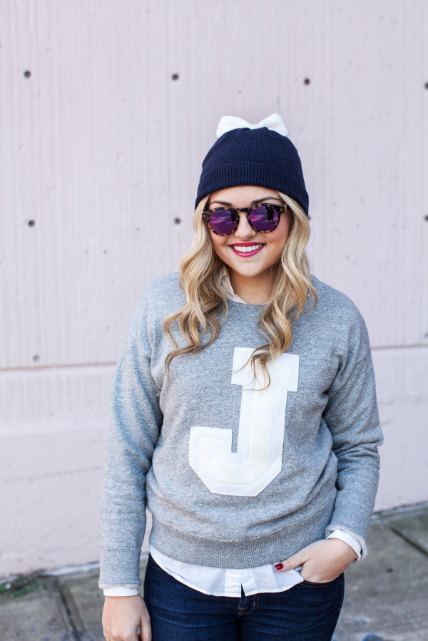 Kate Spade Bow Hat, Illesteva Mirrored Sunglasses, J.Crew J Sweater