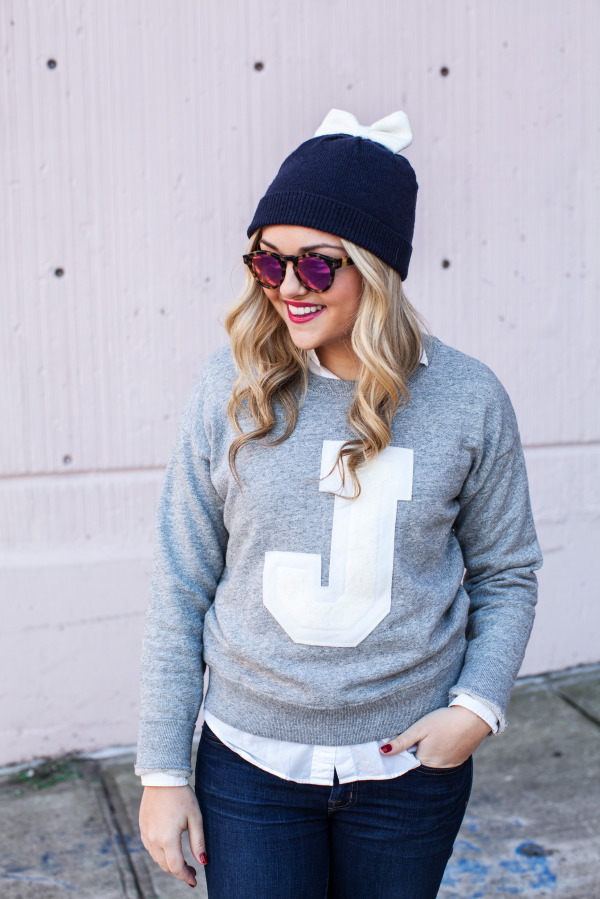 Kate Spade Bow Hat, Illesteva Mirrored Sunglasses, J.Crew J Sweatshirt