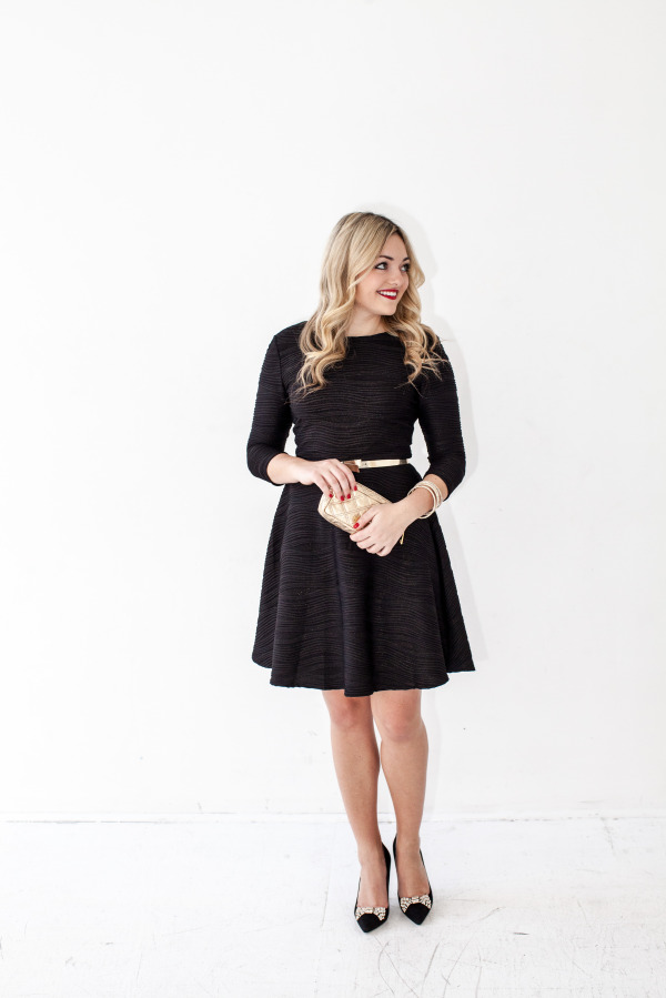 black and gold shimmer dress, kate spade bow pumps