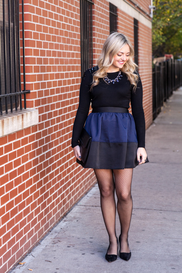 black and navy blue outfit holiday season