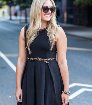 black dress leopard belt