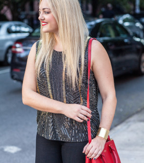 black gold silver beaded tank