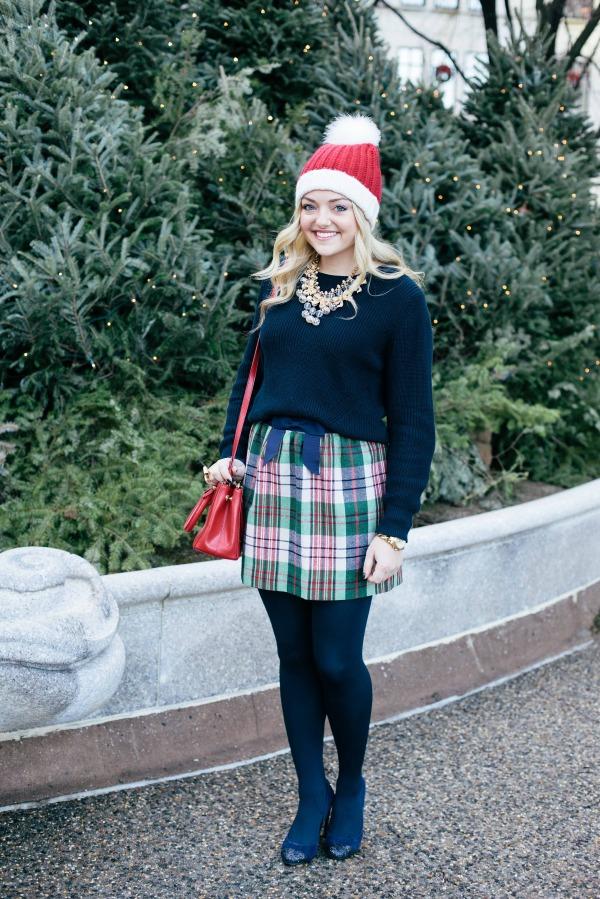 christmas outfit plaid skirt