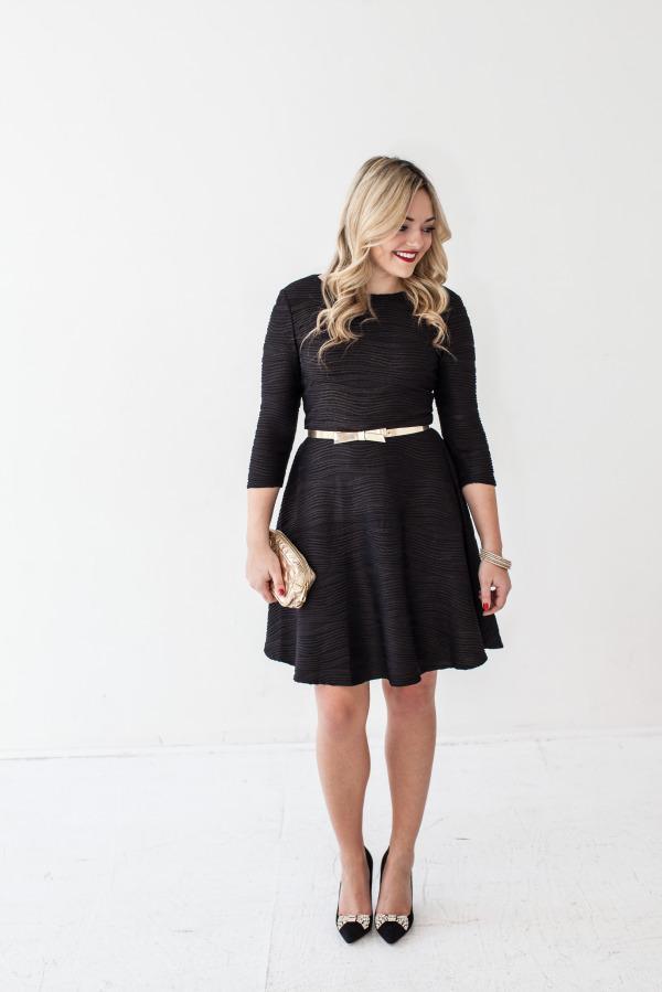 donna morgan dress, kate spade bow belt