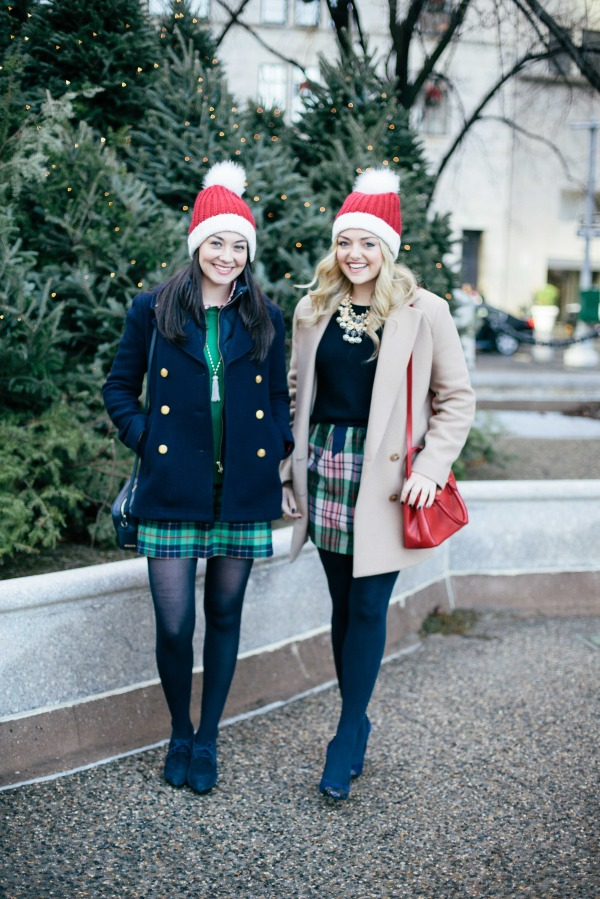festive christmas outfits santa hats the plaza nyc