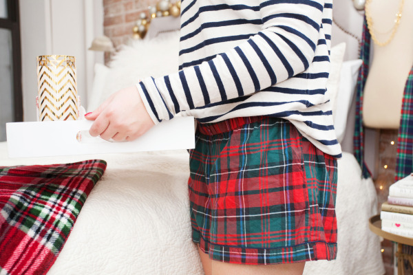 j.crew plaid shorts striped turtleneck
