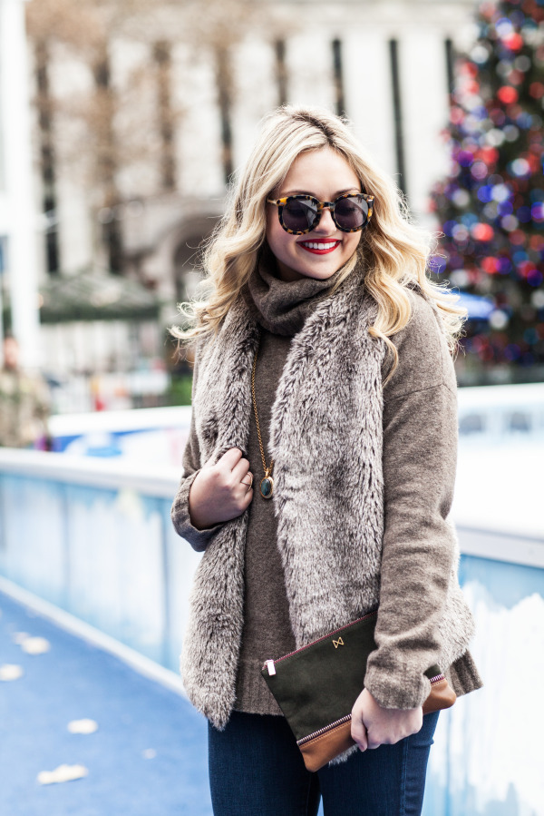 karen walker sunglasses, nars red lipstick, fur vest, theory turtleneck sweater, mofe clutch, christmas in nyc bryant park