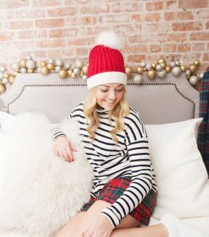 kate spade beanie j.crew striped turtleneck j.crew plaid shorts