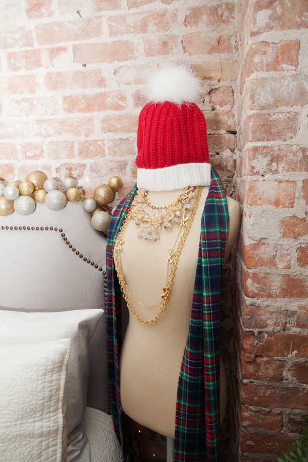 kate-spade-santa-hat,-vineyard-vines-plaid-scarf,-pb-teen-dress-form,-necklaces