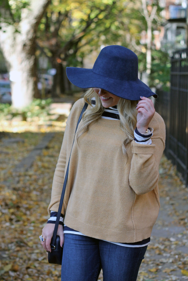 navy floppy hat outfit