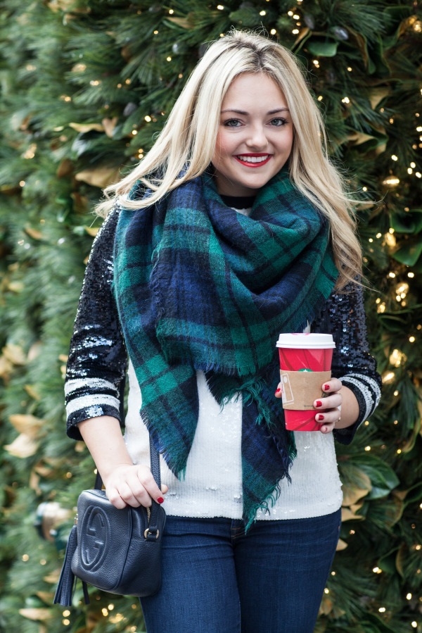 plaid blanket scarf blackwatch navy green