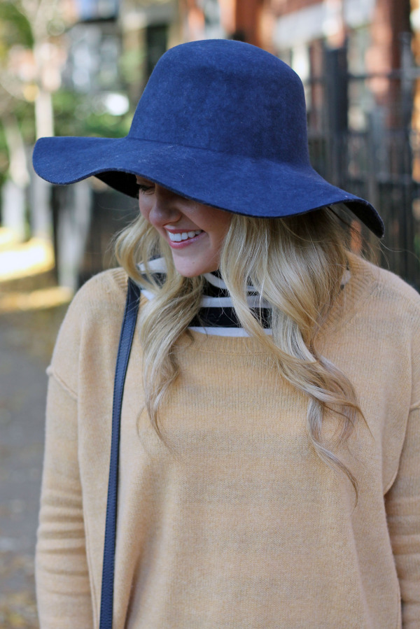 what to wear with a navy hat