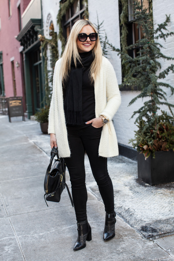 black and white winter outfit new york blogger