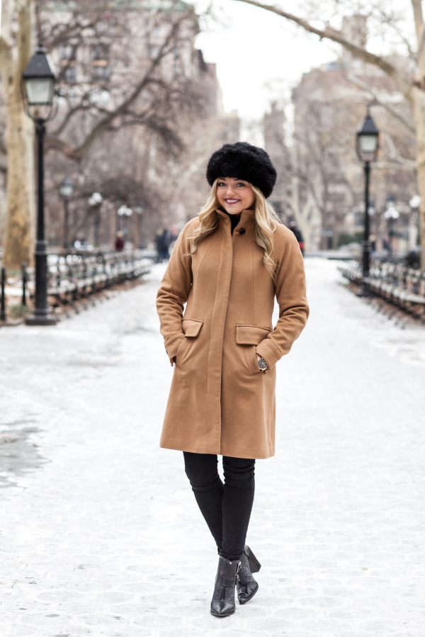 camel coat, black pants, black booties, black faux fur topper