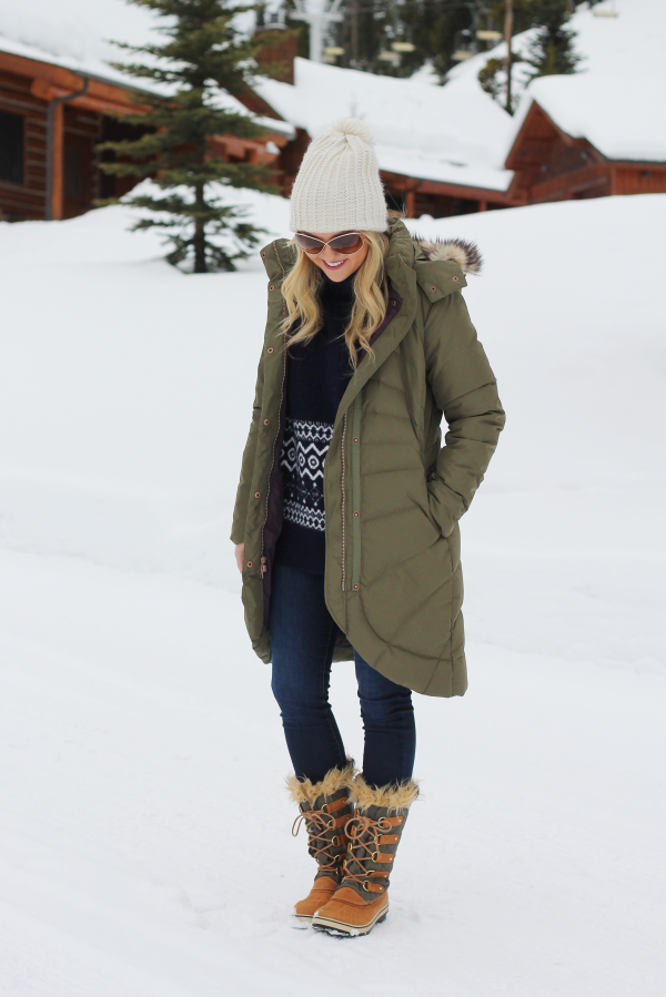 cute outfit for ski trip snow boots