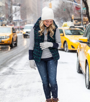 cute snow outfit stripes plaid duck boots