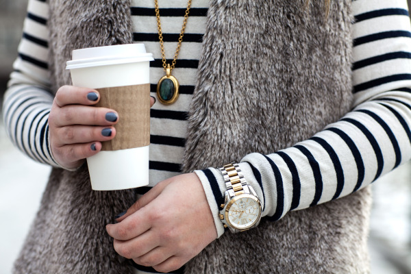faux fur vest, paintbox manicure, julie vos necklace, michael kors watch