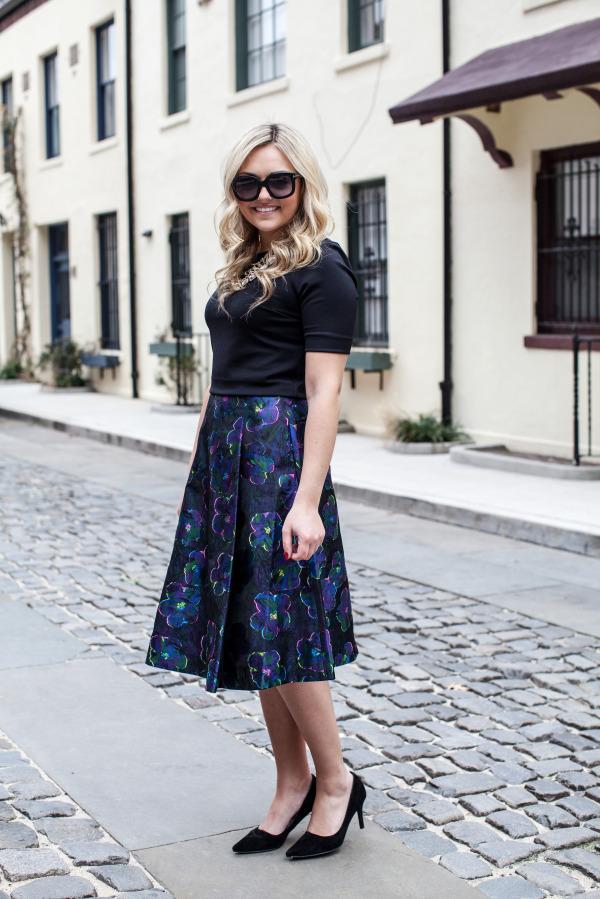 floral clip dot a line skirt