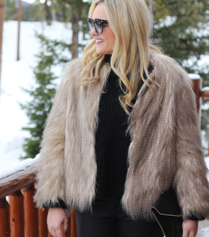 fur coat outfit ski trip resort