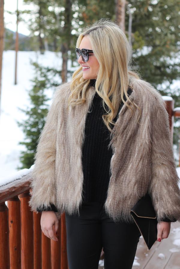 fur coat outfit ski trip resort