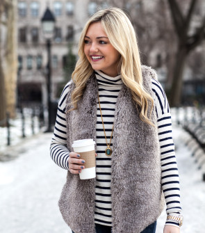j.crew stripe turtleneck, faux fur vest outfit
