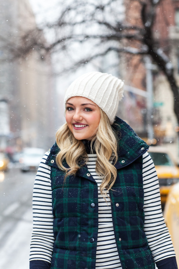 lands end striped shirt old navy plaid puffer vest beanie