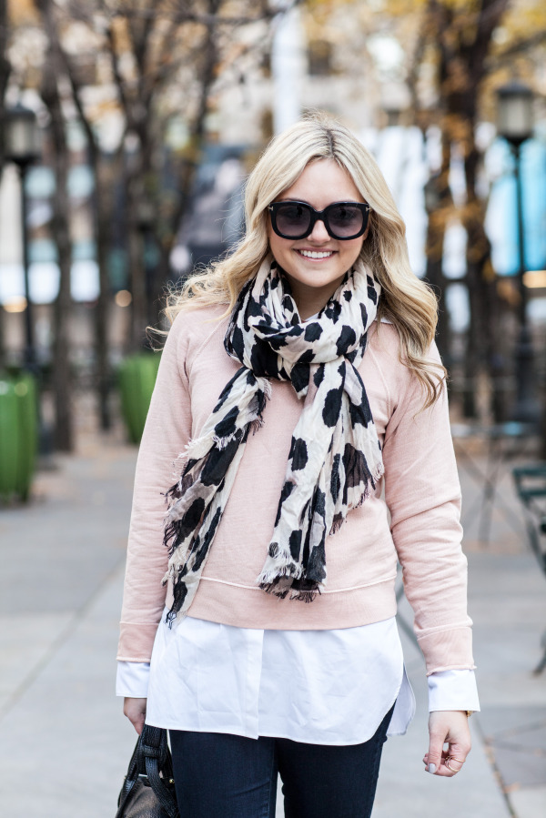 leoaprd scarf and blush sweatshirt